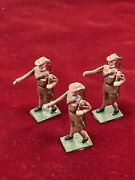 Vintage Lead Toy Soldiers Hand Painted 3 Metal Soldiers With Guns