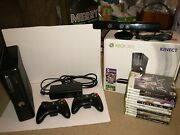 Microsoft Xbox 360 S Kinect Bundle 250gb, Black Console, 2 Controllers, 11 Games