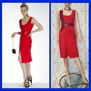 New Versace Embellished Red Dress 46 - 10