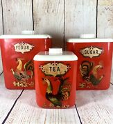 Rare Vintage Lustro Ware Canister Set 3 Stackable Rooster Nesting 1950's