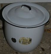 Vintage Practical Enameled Ware Stock Pot White With Bale Handle Chamber Pot