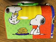 Vintage Peanuts Snoopy And Chocolate Chip Cookies Mailbox Lunch Box Tin