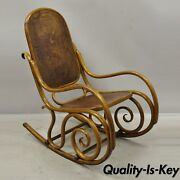 Thonet Bentwood Rocking Chair Figural Pressed Wood Griffins And Northwind Face