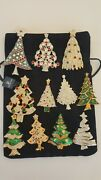 Swan Signed Lot Of 11 Christmas Trees Brooches Very Nice Collection