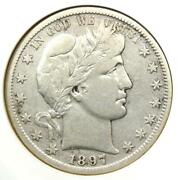 1897-s Barber Half Dollar 50c - Anacs Vf Details - Rare Date - Certified Coin