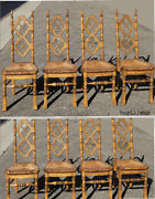 Set Of Eight Antique French Country Quarter Sawn Oak And Rush Dining Chairs