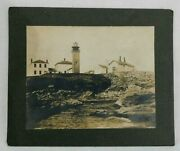 Antique Real Photo Of Unusual Square Beavertail Lighthouse Ri On Board