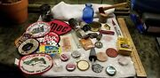 Lot Of Old Stuff Soda Caps Bottles Patches Tokens Electrical Pendents Knife Tin