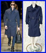 F/w 2015 Look 36 New Versace Belted Blue Trench Coat With Elastic Cuffs 50 - 40