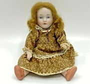 5 Miniature Antique Mignonette Jointed Bisque Doll W Red Human Hair Wig Fix