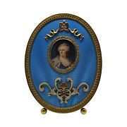 Russian Silver Gilt Blue Guilloche Enamel Photo Frame With Garnets And Diamonds