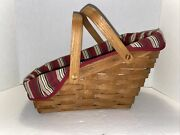 1988 Longaberger Slanted Sleigh Basket With Dual Handles And Striped Liner
