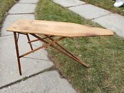 Vintage Wooden Folding Ironing Board Solid Antique