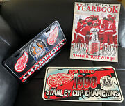 Detroit Red Wings Stanley Cup Memorabilia 1997-1999 Yearbook And License Plates