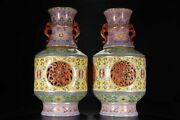 16.5 China Old Antique Qing Dynasty Qianlong Mark Porcelain Cloisonne Bird Vase