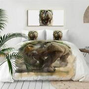 Watercolour Paint Rhino Animal King Queen Twin Quilt Duvet Pillow Cover Bed Set