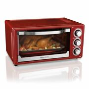 New Toaster Convection/broiler Oven Red, Hamilton Beach 6 Slice Timer, Stay On