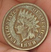 Raw 1888 Indian Head Penny Small Cent
