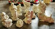 Vintage Large Oand039well Nativity Set Figurine Statue Porcelain Table White Gold 11p