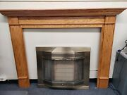 Oak Wood Fireplace Mantel With Brass And Glass Screen