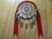 Native American Ceremonial Leather Shield, Painted Black War Bonnet, Sd-03693