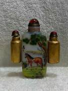Chinese Old Beijing Glass Hand-made Exquisite Three Piece Set Snuff Bottle 1858