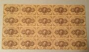 Uncut Sheet 20 Notes Fr 1230 Washington 5 Cent Fractional Postage Currency