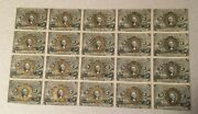 Uncut Sheet Of 20 Fr 1232 Fractional Currency Washington 5 Cent Notes