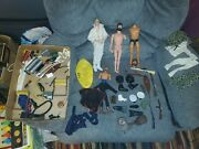 Vintage Lot Of 1960s - 70s Gi Joe Body Parts And Pieces Clothing Boots Caps Gun