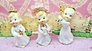 Vtg Set Three Christmas Angels Gold Stars Wand One W Candle Glow Tulle Wings