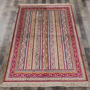Yilong 4and039x6and039 Handknotted Silk Carpet Striped Home Indoor Kid Friendly Rug L34b