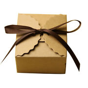 Pack Of 50 Vintage Rustic Chic Kraft Paper Candy Sweets Gift Boxes With Ribbon