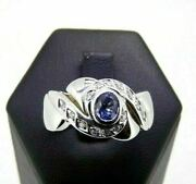 White Gold Ring Solid 18k Used Band With Sapphire And Natural Diamonds