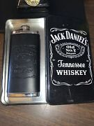 Classy Jack Daniels Leather Wrapped Stainless Steel Flask With Tin Case