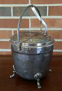 Vintage Mid Century Crescent Footed Ice Bucket Hinged Swing Top Lid Glass Insert