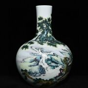 14.6and039and039 China Antique Vase Five-colored Porcelain Vase Pottery Bottle Hxcc