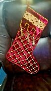 Mark Roberts Victorian Christmas Stocking Velvet Pearl 18 Bejeweled Lot Of 2