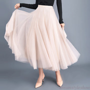 Princess Womenand039s Lady Tulle High Waist Pleated Beach Maxi Party Long Dress Skirt