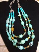 Sterling 3 Strand Bib Turquoise Necklace - Gorgeous -retired Bj China - Qvc