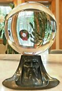 Massive 8 Antique Crystal Ball W/art Deco/nouveau Stand - Stunning Magical