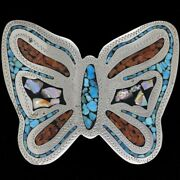 Butterfly Turquoise Western Cowgirl Womens Ladies Gift 70s Vintage Belt Buckle
