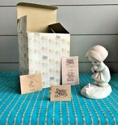 Precious Moments Porcelain Figurine February + Box Girl And Flower In Snow 1987