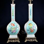 Pair Of German Dresden Porcelain Table Lamps Turquoise Hand-painted Vases C 1900
