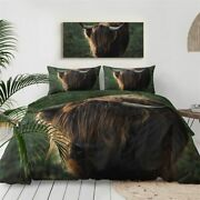 3d Scottish Cow Highland Animal King Queen Twin Quilt Duvet Pillow Cover Bed Set