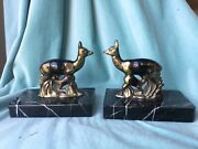 Antique Pair Book Ends French Art Deco Deer Fawn Marble Heavy France Brass Metal