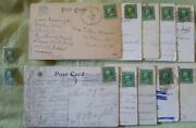 1 Cents Used Franklin Stamps And Antique Post Cards With Stamps Postd 1909-1912