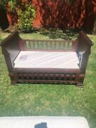 Antique Victorian Sleigh Bed Crib Convertible To Small Sofa Or Window Seat