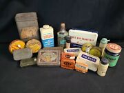 Large Lot Of Vintage Medical And Self Care Supplies Tin Boxes