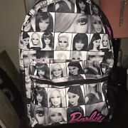 Nwot F.a.b Mattel Barbie Faces Backpack Black And White Pink Canvas Adult Size
