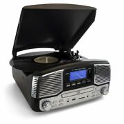Trexonic Retro Wireless Bluetooth Record And Cd Player In Black